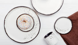 Stylish set of handmade dishes on the table Stock Photos