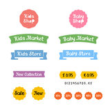 Stylish set of logos, icons and stickers for Kids Shop or Baby Market Royalty Free Stock Photos