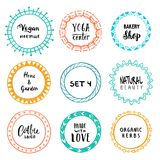 Stylish set of multi colored round frames .Vector frameworks 4. Stylish set of multi colored round frames with examples of the names of your store .Vector Royalty Free Illustration