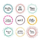 Stylish set of multi colored round frames .Vector frameworks 3. Stylish set of multi colored round frames with examples of the names of your store .Vector Royalty Free Illustration