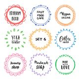 Stylish set of multi colored round frames .Vector frameworks 6. Stylish set of multi colored round frames with examples of the names of your store .Vector Royalty Free Illustration