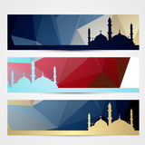 Stylish set of ramadan headers Stock Photo