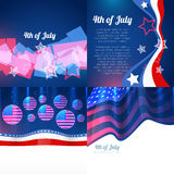 Stylish set of 4th july american independence day background. Vector stylish set of 4th july american independence day with americdan flag design and wave Stock Photography