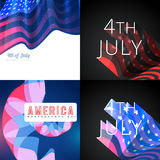 Stylish set of 4th july american independence day background. Vector set of 4th july american independence day flag design with creative background Stock Images