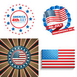 Stylish set of 4th july american independence day background. Vector stylish set of 4th july american independence day background illustration Stock Image