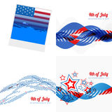Stylish set of 4th july american independence day illustration. Vector stylish set of 4th july american independence day with photo frame, wave and creative stock illustration