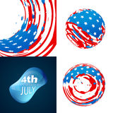 Stylish set of 4th july independence day background illustration Royalty Free Stock Images