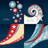Stylish set of 4th july independence day background illustration Royalty Free Stock Photo