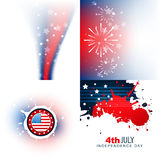 Stylish set of 4th july independence day background Royalty Free Stock Image