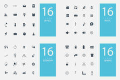 Stylish set of 4 themes and icons Royalty Free Stock Photo