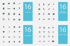 Stylish set of 4 themes and icons Royalty Free Stock Images