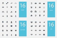 Stylish set of 4 themes and icons Stock Images