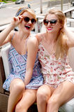 Stylish sexy beautiful women models in summer bright clothes Stock Images