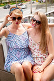 Stylish sexy beautiful women models in summer bright clothes Stock Photo