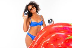 Stylish Sexy Brunette African American In A Swimsuit With A Wide Smile On A White Isolated Background Royalty Free Stock Photography