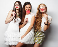 Stylish sexy girls best friends ready for party. Life style and people concept: Stylish sexy girls best friends ready for party Royalty Free Stock Photography