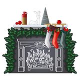 Stylish shelf with New Year and Christmas gifts and drawn of chalk on the wall burning fireplace. Festive interior with. Chalkboard, hanging socks, Christmas stock illustration