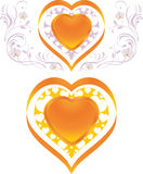 Stylish shining hearts. Decorative elements to the Stock Images