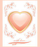 Stylish shining pink heart. Greeting card to the V Royalty Free Stock Images