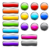 Stylish shiny buttons. Set of colored buttons in the shapes of rounded rectangle and circle Stock Photos