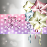 Stylish shiny card for birthday with balloons Stock Photography