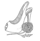 Stylish shoe with flower. Vector illustration. Royalty Free Stock Photos