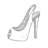 Stylish shoe line art. Vector illustration. Stock Image