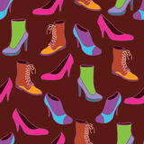 Stylish shoes. Colorfulseamless  pattern Royalty Free Stock Photos