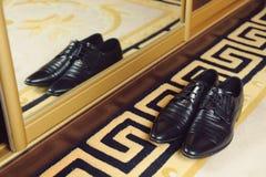 Stylish Shoes on Carpet Royalty Free Stock Images