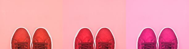 Shoes on coral background. Stylish shoes on coral background royalty free stock photo