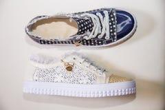 Stylish shoes with rhinestones, women's shoes Royalty Free Stock Image