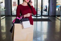 Stylish shopper holding lot of handbags. Shopping center. Shopping, go shopping Royalty Free Stock Photography