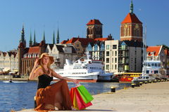 Stylish shopper woman in old town Gdansk Stock Image