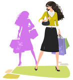 Stylish shopping woman. Illustration of a stylish, fashionable woman with shopping bags Royalty Free Stock Images