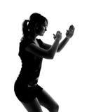 Stylish silhouette of Caucasian woman posing Royalty Free Stock Image