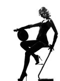 Stylish silhouette woman dancing cabaret Royalty Free Stock Photography