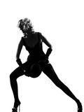 Stylish silhouette woman dancing cabaret Stock Photos