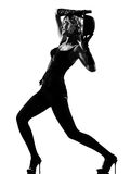 Stylish silhouette woman dancing cabaret Royalty Free Stock Image