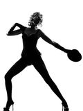 Stylish silhouette woman dancing cabaret Stock Photography