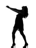 Stylish silhouette woman dancing full length Royalty Free Stock Image