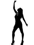 Stylish silhouette woman dancing happy Stock Photography