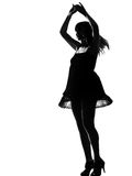 Stylish silhouette woman dancing happy Stock Photo