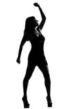 Stylish silhouette woman dancing happy Royalty Free Stock Photo