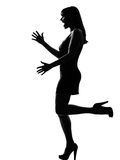 Stylish silhouette woman happy welcoming Royalty Free Stock Photos