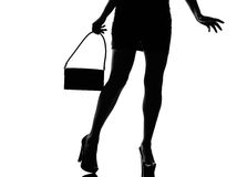 Stylish silhouette woman legs walking Royalty Free Stock Image