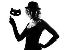 Stylish silhouette woman masquerade mask Stock Image