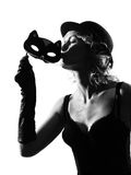 Stylish silhouette woman masquerade mask Stock Photos