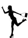 Stylish silhouette woman running hailing hurrying Stock Image