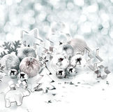 Stylish silver Christmas background still life Royalty Free Stock Photography