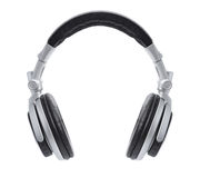 Stylish Silver DJ Headphones Royalty Free Stock Image